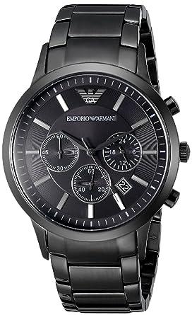 Emporio Armani - Montre à quartz pour homme avec chronographe en acier inoxydable et cadran noir