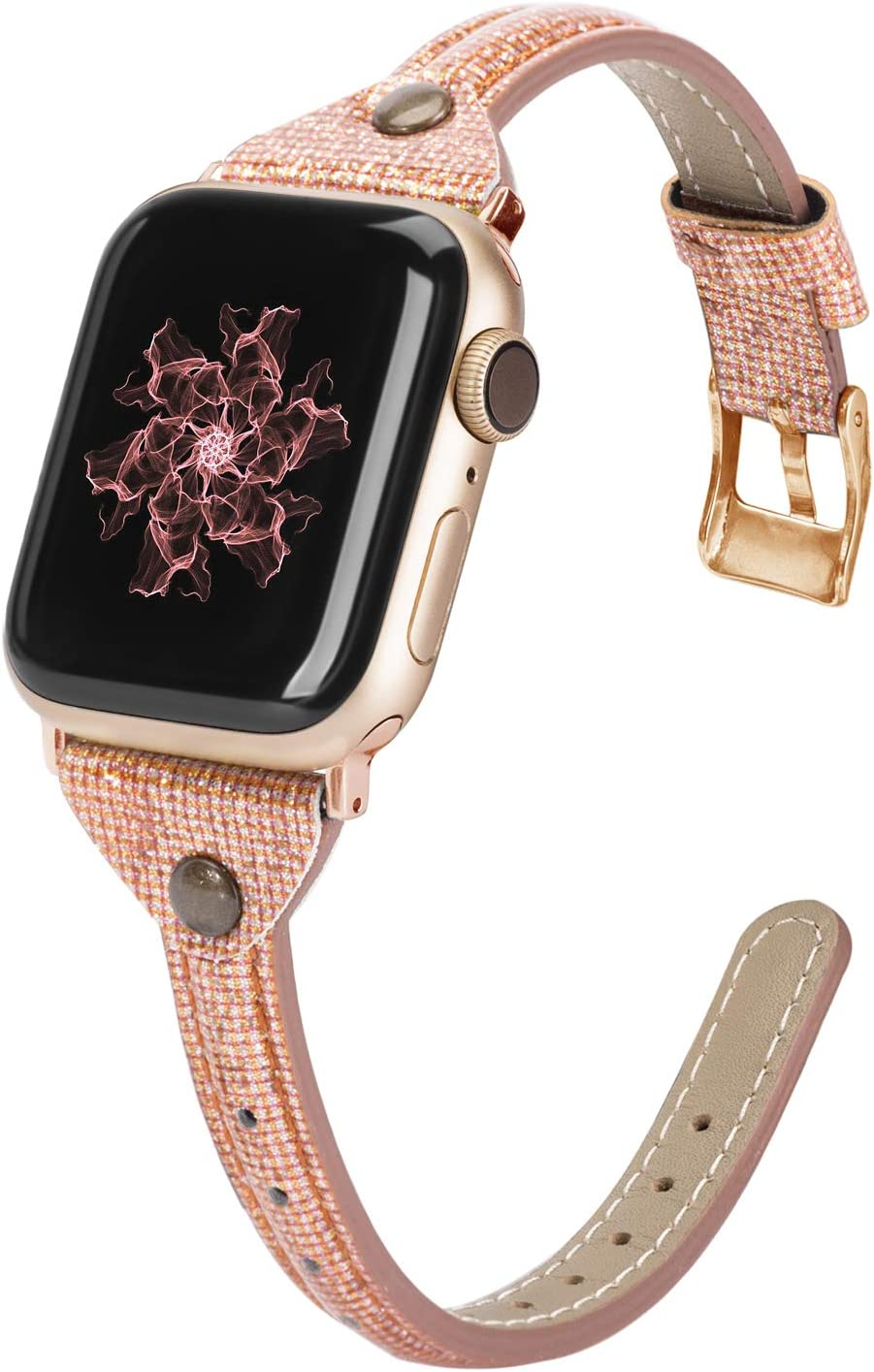 Wearlizer Thin Leather Compatible with Apple Watch Bands 38mm 40mm for iWatch SE Womens Slim Smooth Bling Strap Leisure Cute Glitter Rivet Shiny Wristband (Gold Clasp) Series 6 5 4 3 2 1-Deep Gold