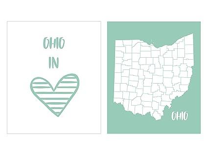 Amazon.com: Hudson Frames I Love Ohio - State of Ohio Map Art, 8 x ...