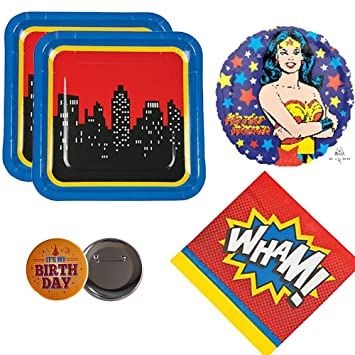 Amazoncom 02 Wonder Woman Theme Party Supplies for 16 guests