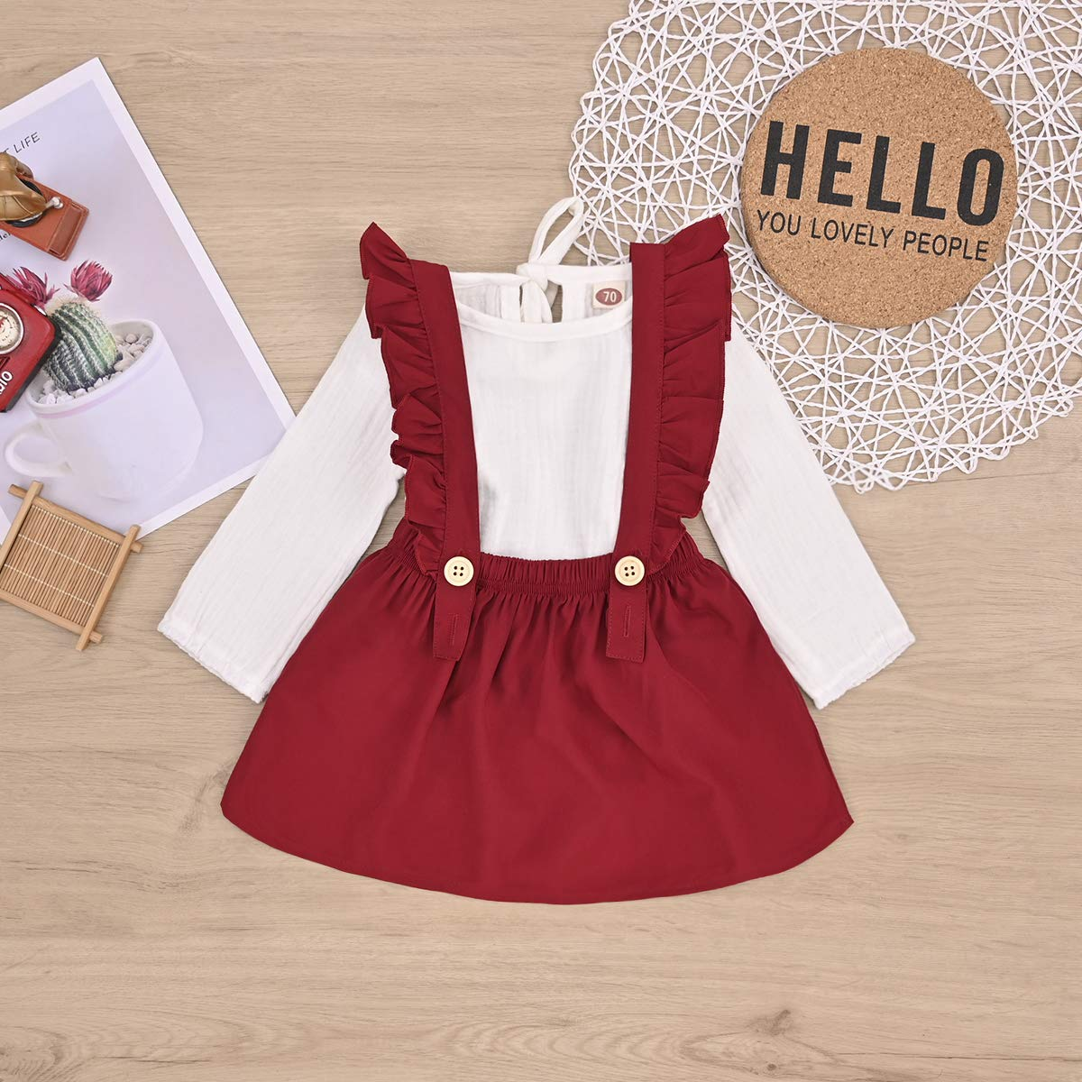 Baby Girl Skirts Sets Cotton Linen Long Sleeve Top+Ruffle Strap Suspender Dress Fall//Winter Outfits Set Clothes