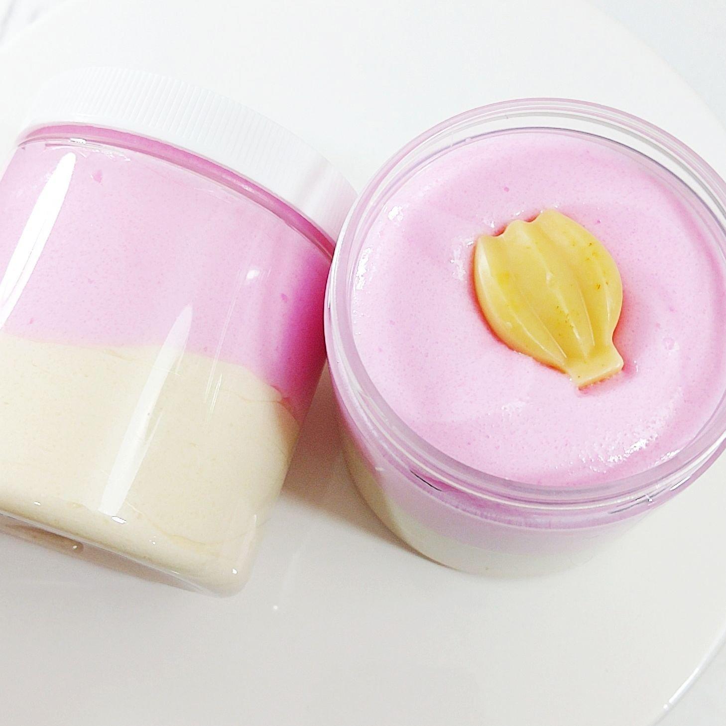 Strawberry Banana Smoothie Whipped Sugar Scrub Soap. Exfoliating Body Scrub. Summer Gift Ideas