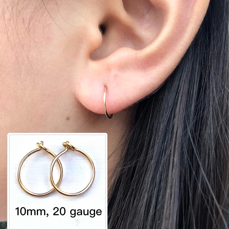 Amazon Com Small 10mm Gold Hoop Earrings For Women 14k Yellow