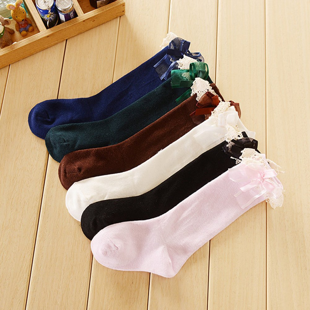 xxiaoTHAWxe High Socks Baby Kids Girls Fashion Bow Lace Breathable Summer Autumn Below Knee High Socks