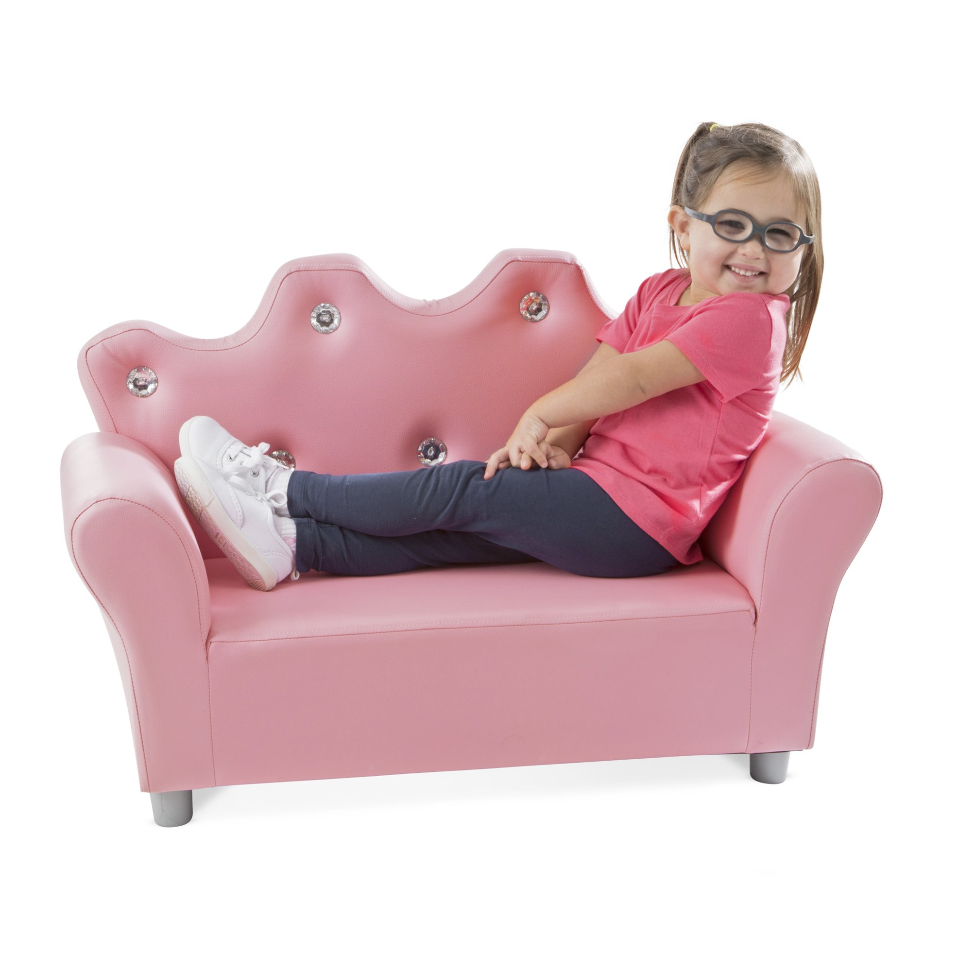Melissa & Doug Child's Crown Sofa - Pink Faux Leather Children's Furniture