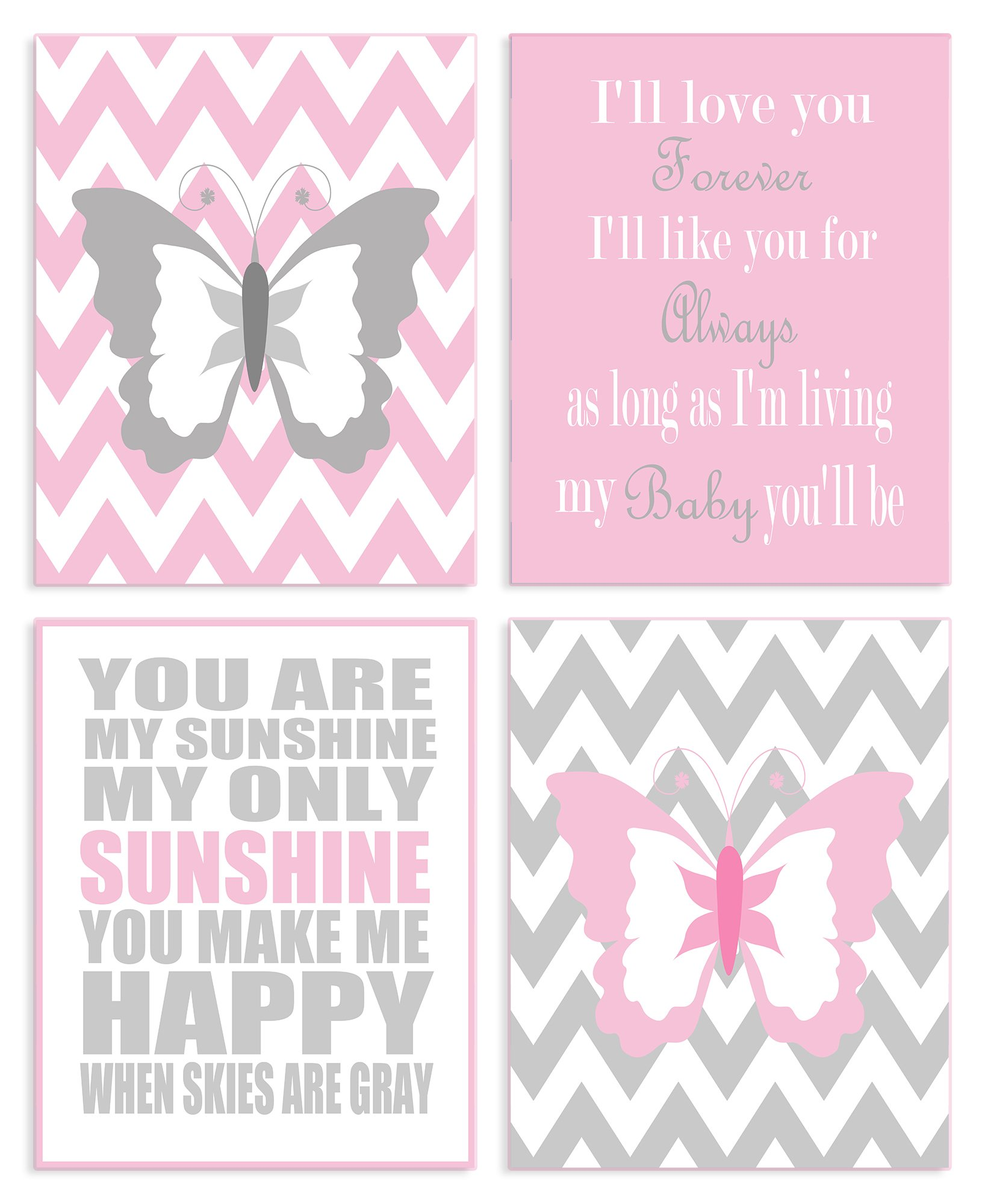 The Kids Room By Stupell Pink And Grey Chevron Butterfly Typography 4-Pc Rectangle Wall Plaque Set, Proudly Made in USA by The Kids Room by Stupell