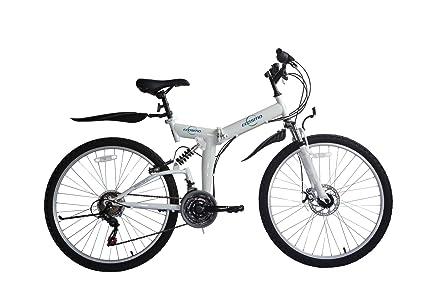 """Ecosmo - Mountain bike pieghevole, cambio """"Shimano"""", 21 velocità, 66 cm"""