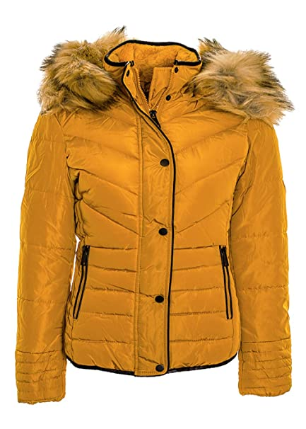 22d2be1d22 Women's Faux Fur Collar Hooded Puffer Quilted Jacket Padded Warm Winter  Slim Fit Coat Mustard: Amazon.co.uk: Clothing