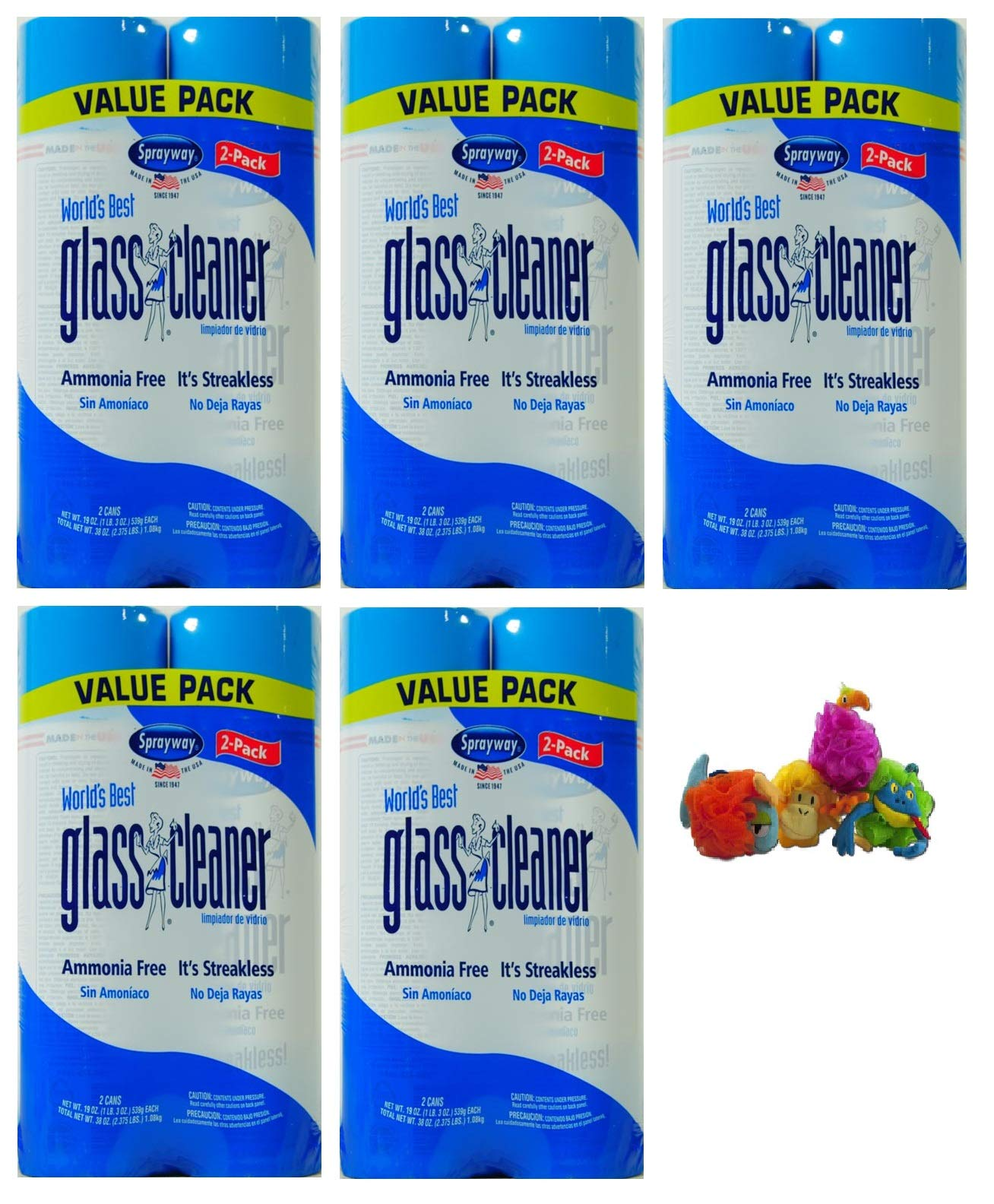 Sprayway 19 oz World's Best Glass Cleaner + FREEBIES (Pack of 5, Cleaner)
