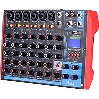 Funien AG-8 Consola mezcladora portátil de 8 Canales Mezclador de Audio Digital + 48 V Phantom Power Admite conexión BT…