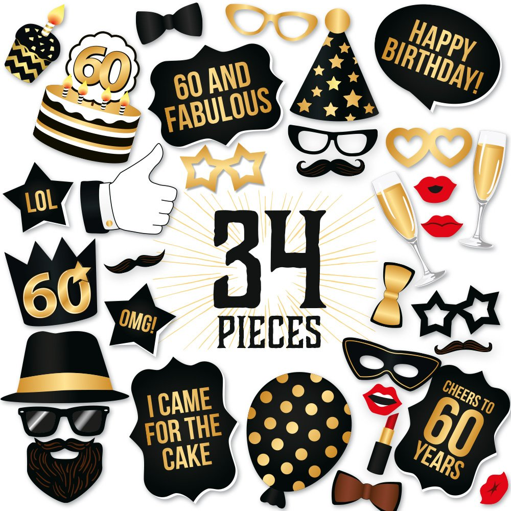 Amazon.com: 60th Birthday Photo Booth Props – Fabulous Sixty Party ...