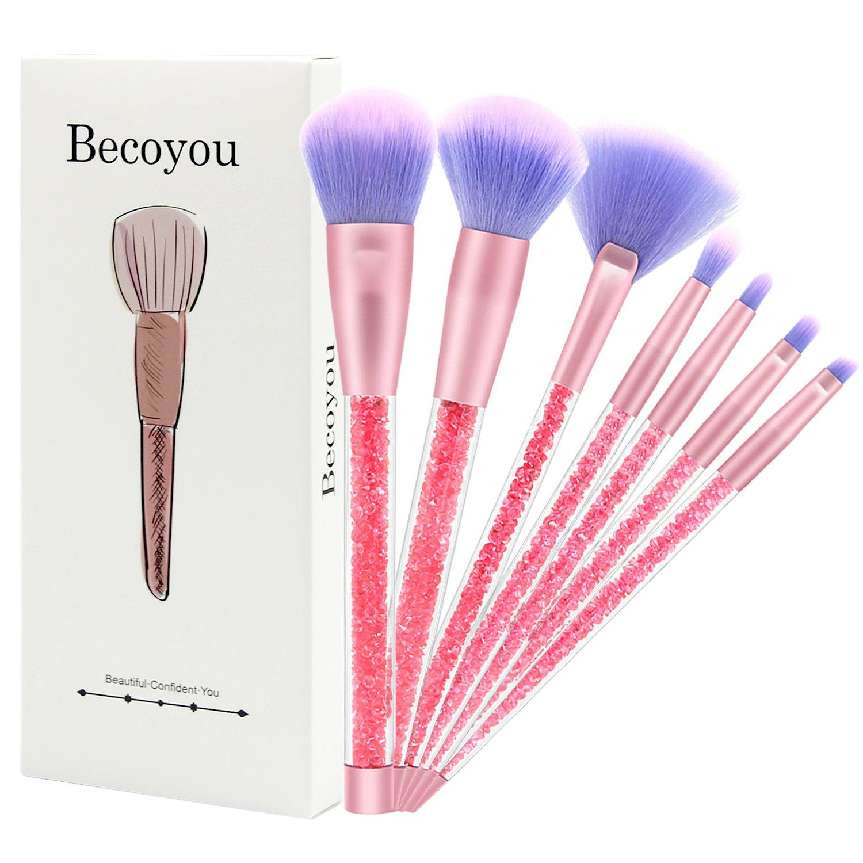 Becoyou pennelli professionali, 5 pezzi viso cosmetici spazzole kit con strass acrilico manico liscio per fondotinta in polvere per sopracciglia, fard, correttore, viola eFun