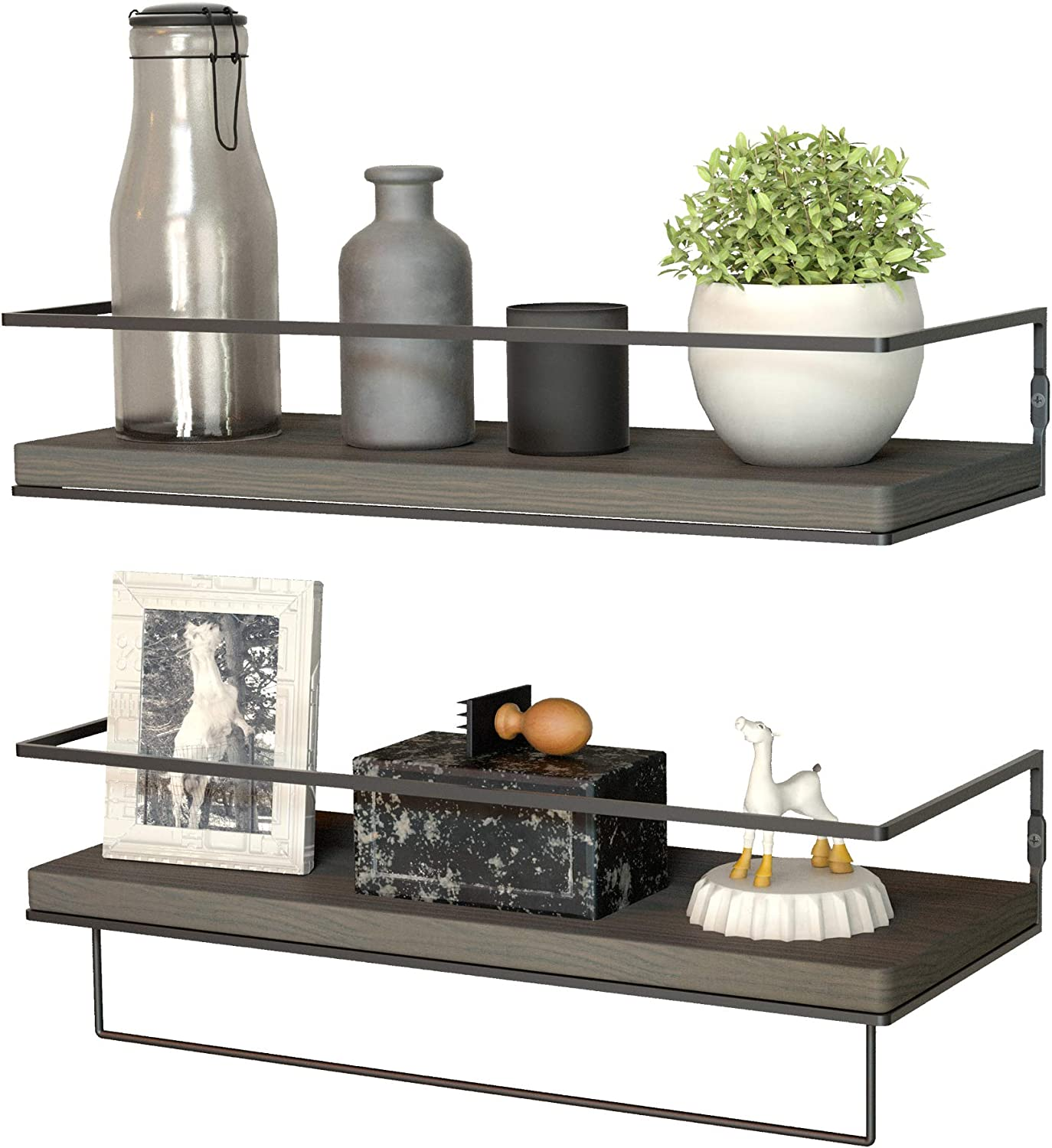 ZGO Floating Shelves Wall Mounted Set of 2,Rustic Wood Wall Decor Storage Shelves with Black Metal Frame and Towel Rack for Bathroom, Bedroom, Living Room, Kitchen,Office