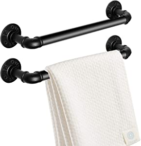 My Rustic Industrial Pipe Towel Rack Towel Bar 10 Inch, Heavy Duty Towel Holder, Wall Mounted Bathroom Hardware Accessory, Black Finish for Kitchen Or Bath Hanging - 2 Pack