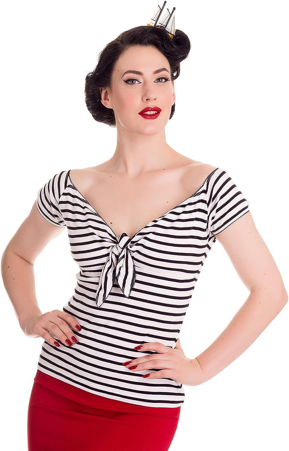 Top stile marinaio a righe Bardot in stile Rockabilly dagli anni 50s Hell Bunny Dolly