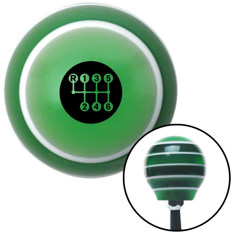 Black 6 Speed Shift Pattern - Dots 20 Green Stripe with M16 x 1.5 Insert American Shifter 275530 Shift Knob