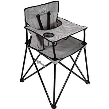 Amazon Com Ciao Baby Portable High Chair For Babies And Toddlers Fold Up Outdoor Travel Seat With Tray And Carry Bag For Camping Picnics Beach Days Sporting Events And More Grey Check