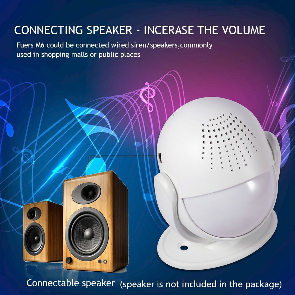 Fuers M6 Wireless Motion Alarm and Alert System with Customize Voice/Songs Function,Welcome Guest Entry Chime, Connectable Speaker for Shop, Hotel, Home by Fuers (Image #6)