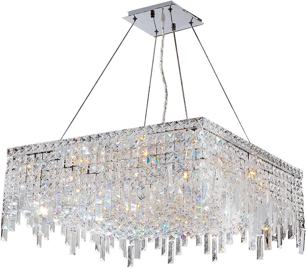 Worldwide Lighting W83613C24 Cascade 12 Light Chrome Finish with Clear Crystal Chandelier, 24 x 24 x 10.5 , Silver