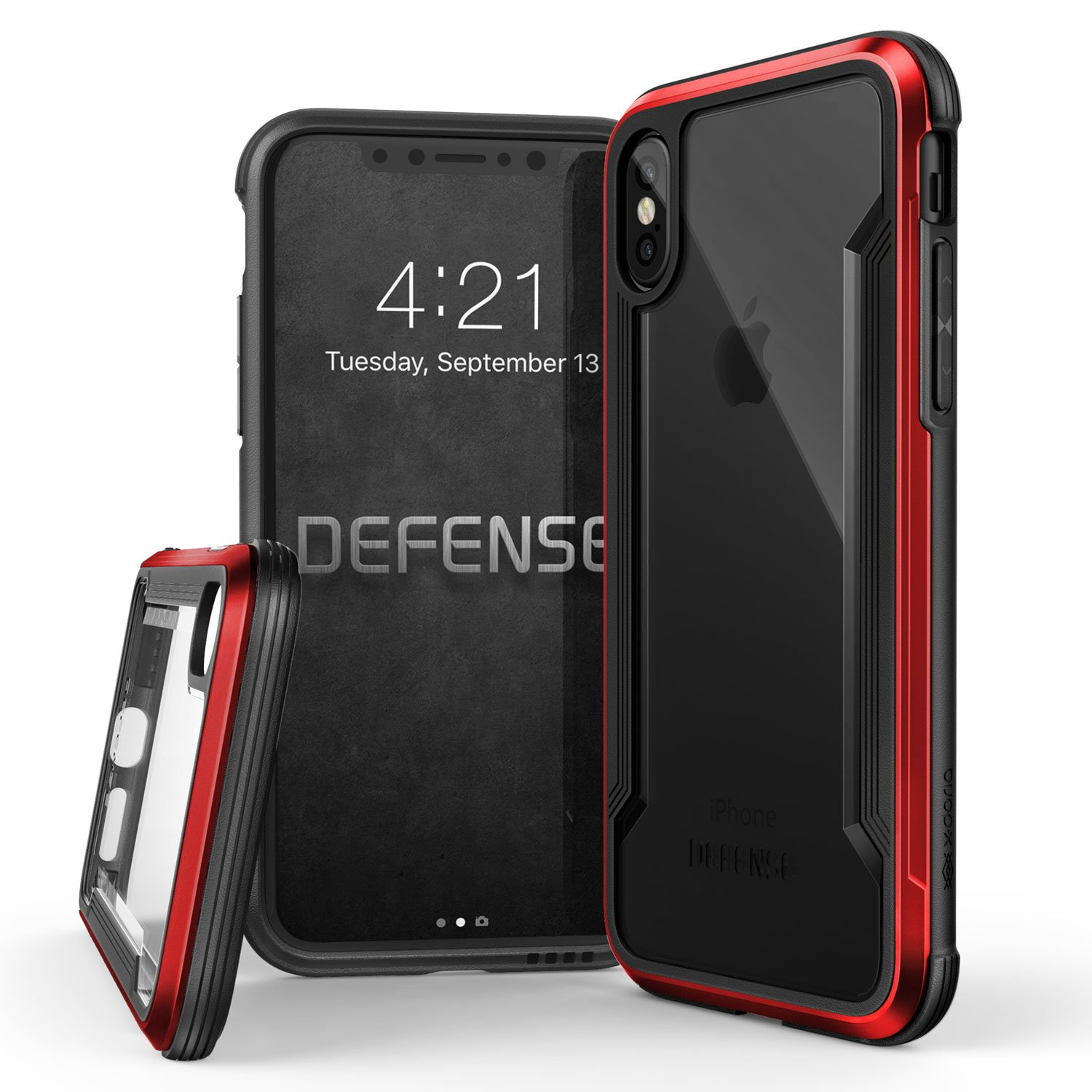 iPhone X, iPhone XS Case, X-Doria Defense Shield Series - Military Grade Drop Tested, Anodized Aluminum, TPU, and Polycarbonate Protective Case for Apple iPhone X, iPhone XS, [Red]