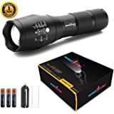 amiciKart Metal LED Torch Flashlight 2000 Lumens, XML T6WaterResistance 5Modes Adjustable Focus with 3AAA Duracell Batterie (Black)