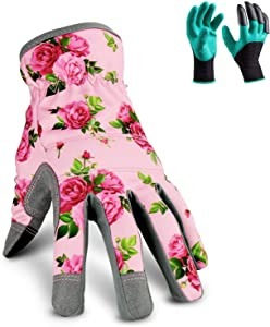 YARTTING Gardening Gloves for Women, Flexible Breathable Spandex, 2 Pairs Yard & Gardening Working Gloves Touch Screen, Best Garden Gifts & Tools for Gardener (M-Pink)