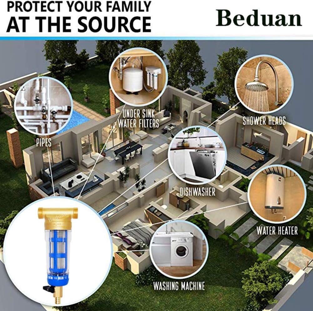 "Beduan Water Pre-Filter Sediment Filter 40 Micron, 3/4"" MNPT, 1/2"" FNPT, Whole House Reusable Spin Down Sediment Filter System: Home Improvement"