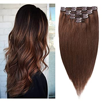 Remy Hair Extensions Human Hair Clip in 14 inches 90g Medium Brown  4 Color  8Pieces b0cb4c29a