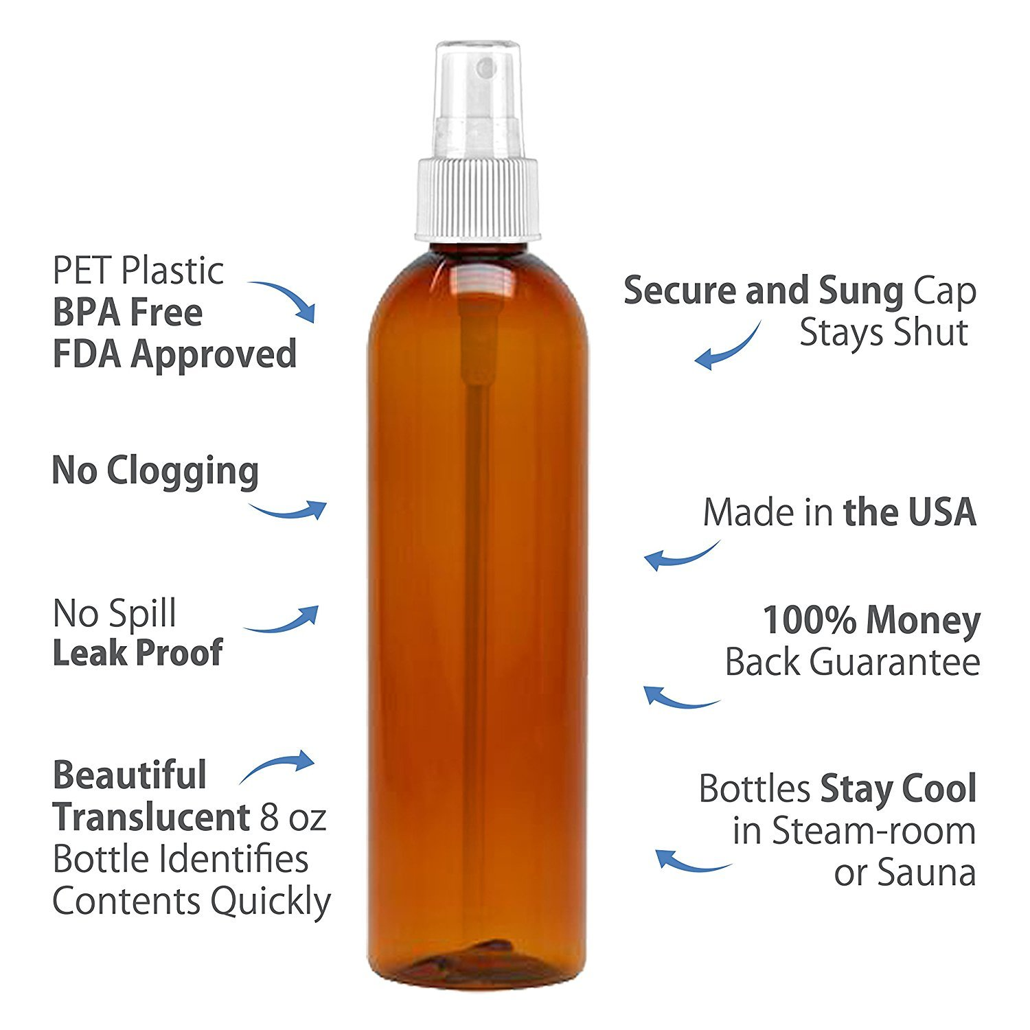 MoYo Natural Labs 8 oz Spray Bottles Fine Mist Empty Travel Containers, BPA Free PET Plastic for Essential Oils and Liquids/Cosmetics (Pack of 12, Amber)