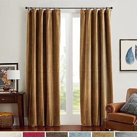 Wonderful Room Darkening Velvet Curtains Gold Brown Drapes For Bedroom, Thermal  Insulated Rod Pocket(1