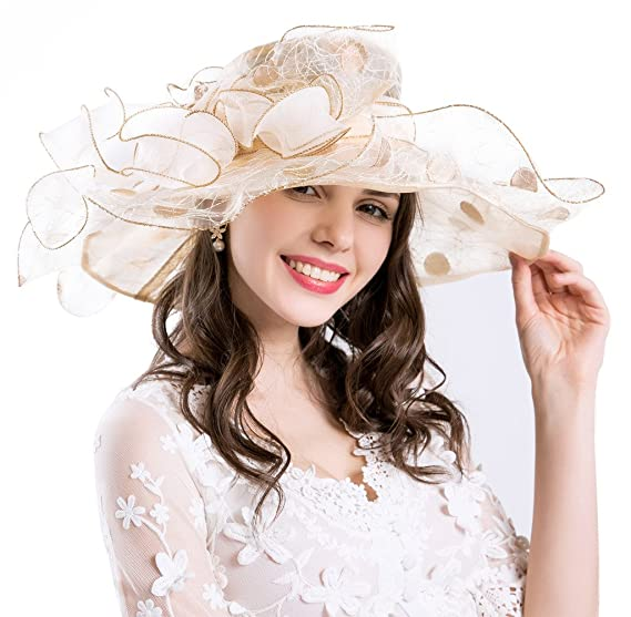 651921af ROYOU YIUOER Derby Hats for Womens Vacation British Tea Party Wedding Dress  UPF 50+ Beige: Amazon.ca: Clothing & Accessories