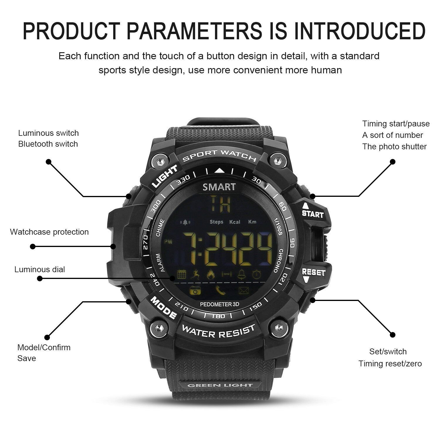 Amazon.com: UMEI Mens Military Smart Watch, EX16 Bluetooth ...