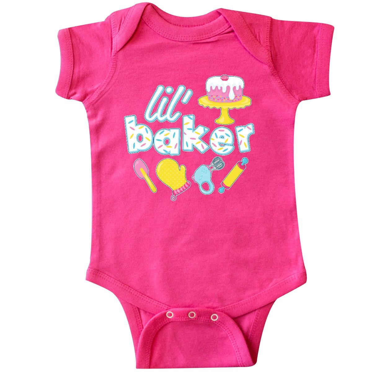 inktastic Lil' Baker Icing and Cake Infant Creeper Newborn Hot Pink by inktastic