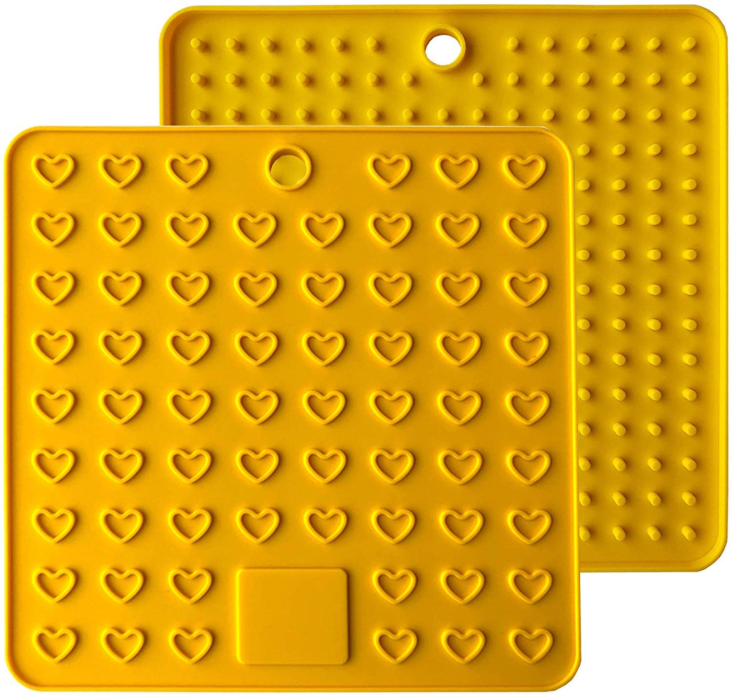 Fullgaden Multipurpose Silicone Pot Holders, Trivets, Jar Openers, Spoon Rests – Extra Thick Protection – Set of 2, Yellow