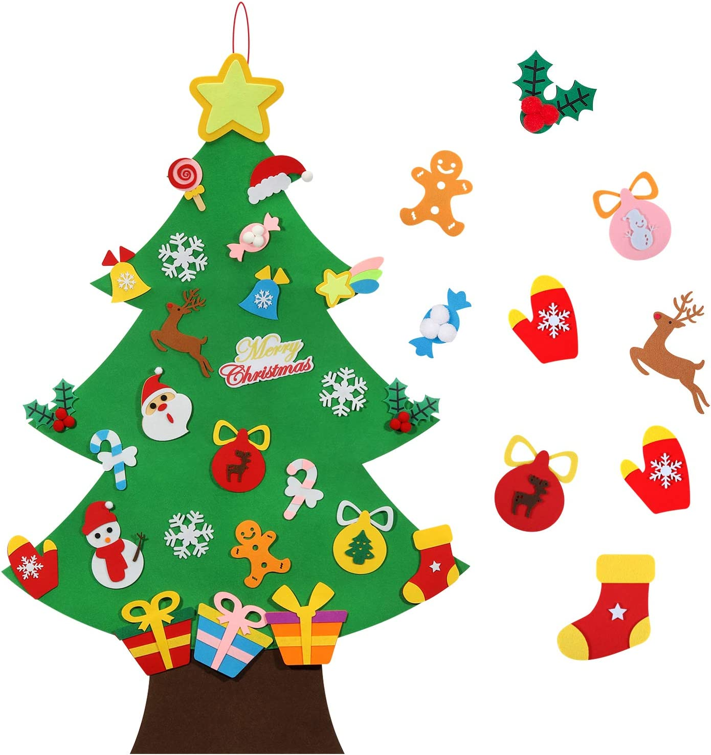 Wall Hanging Christmas Tree Decorations TOBEHIGHER Felt Christmas Tree 3.6 FT 3D DIY Set for Kids with 33 Pieces of Ornament Decor