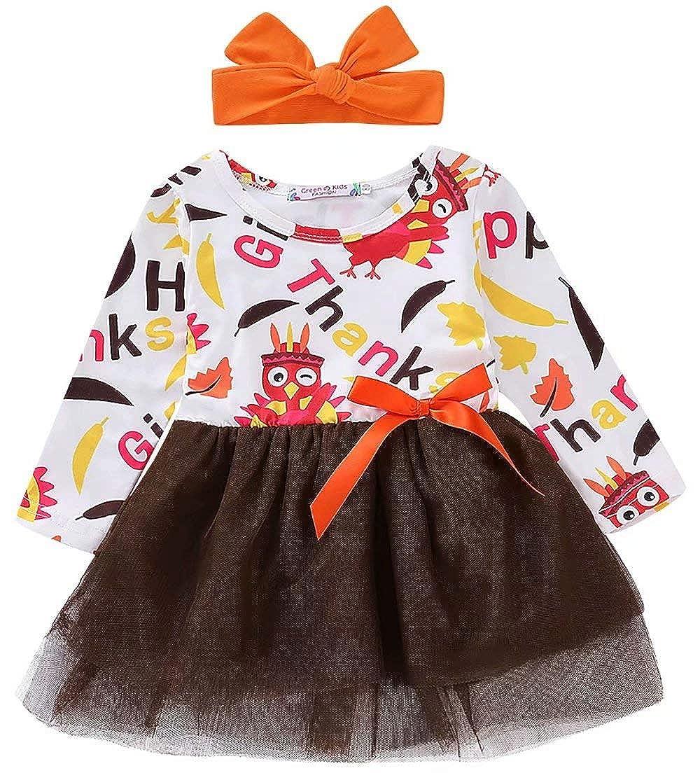 SUPEYA Baby Girls Thanksgiving Dress Princess Bowknot Tulle Tutu Dress with Headband