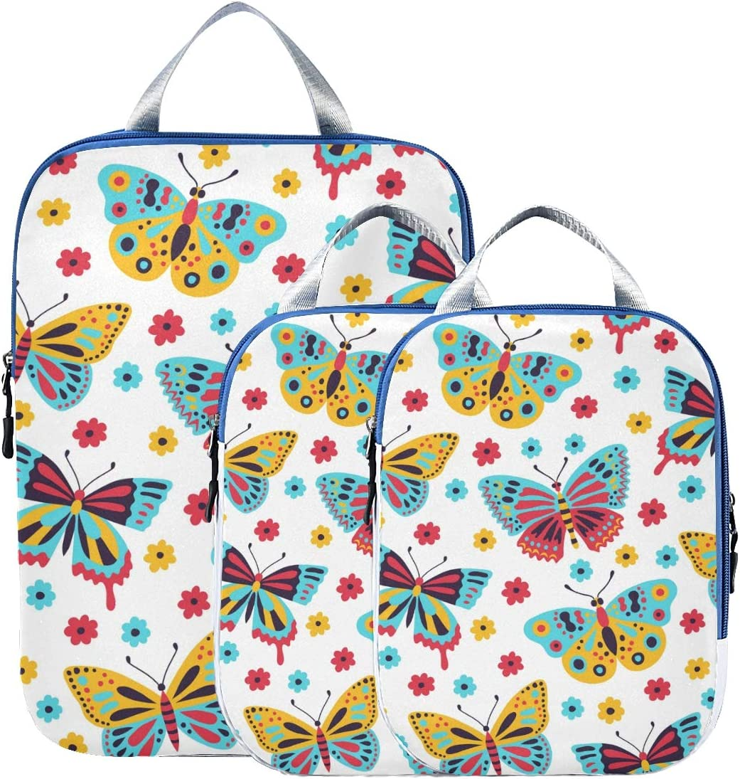 LUPINZ Butterfly Patterns Travel Luggage Packing Organizers 3 Pieces Travel Cubes