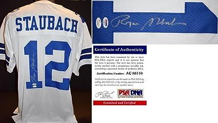 c7801bb65 Signed Roger Staubach Jersey - Custom JSA Authenticity Sticker Certificate  of Authenticity COA) - PSA