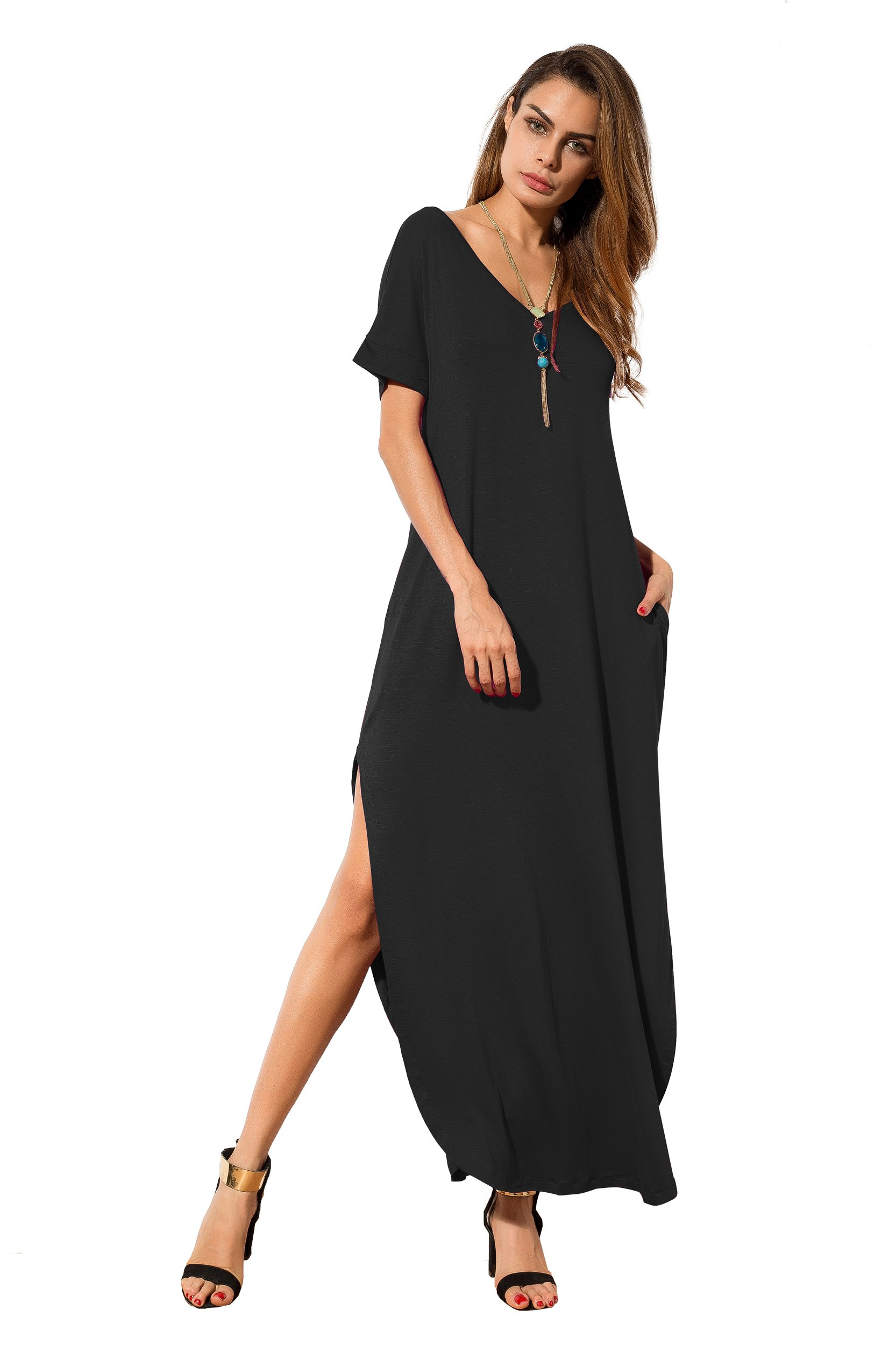 Women's Casual Loose Pocket Long Dress | Short Sleeve ...