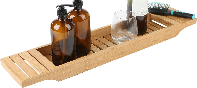 Mind Reader Bathroom Shower Organizer for Shampoo, Soap, Razors, and Much More Bamboo Bathtub Tray, Brown Bath Caddy: Home & Kitchen