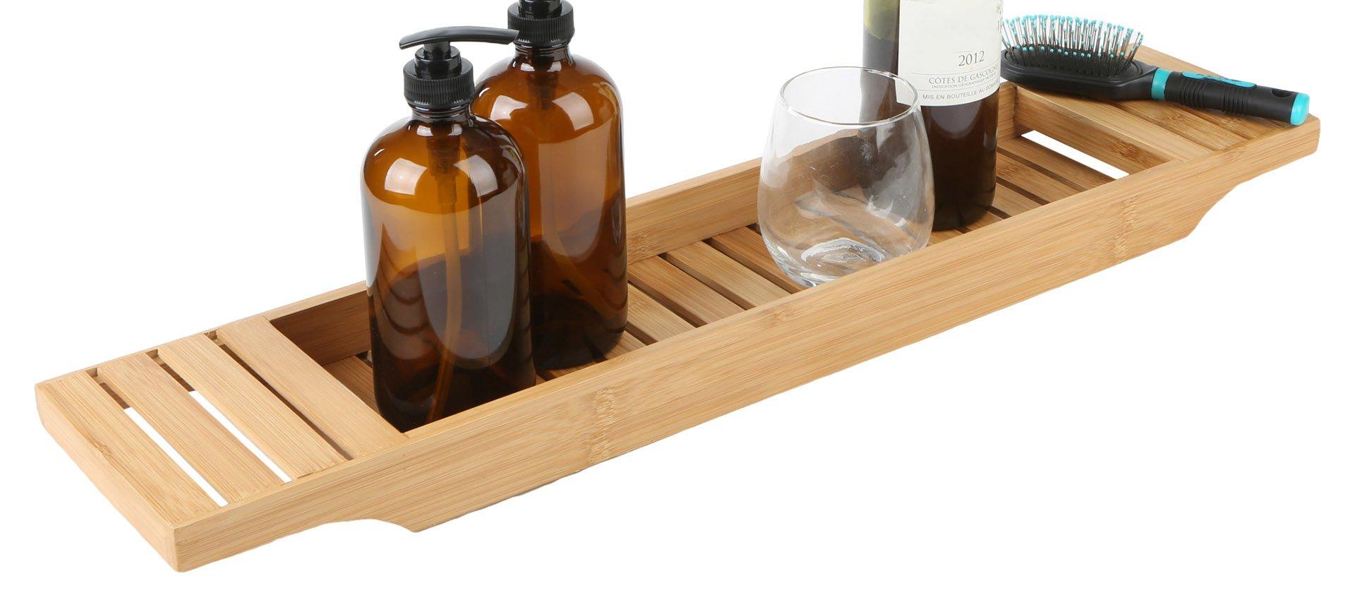 Mind Reader Bathroom Shower Organizer for Shampoo, Soap, Razors, and Much More Bamboo Bathtub Tray Caddy, Brown, Bath
