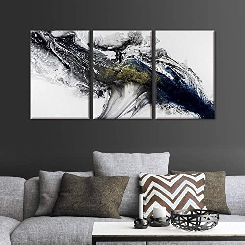 FlyWallD Art Abstract Ink Painting Contemporary Mural Living Room Decoration Home Improvement Preferred Set of 3 Panel