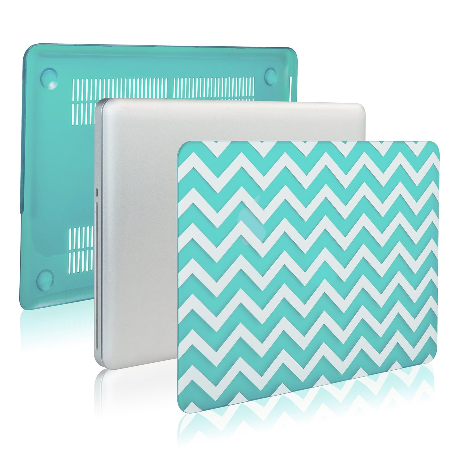 TopCase Chevron Series Hot Blue/TurquoiseUltra Slim Light Weight Rubberized Hard Case Cover for MacBook Air 11'' Model: A1370 and A1465 - with TopCase Chevron Mouse Pad