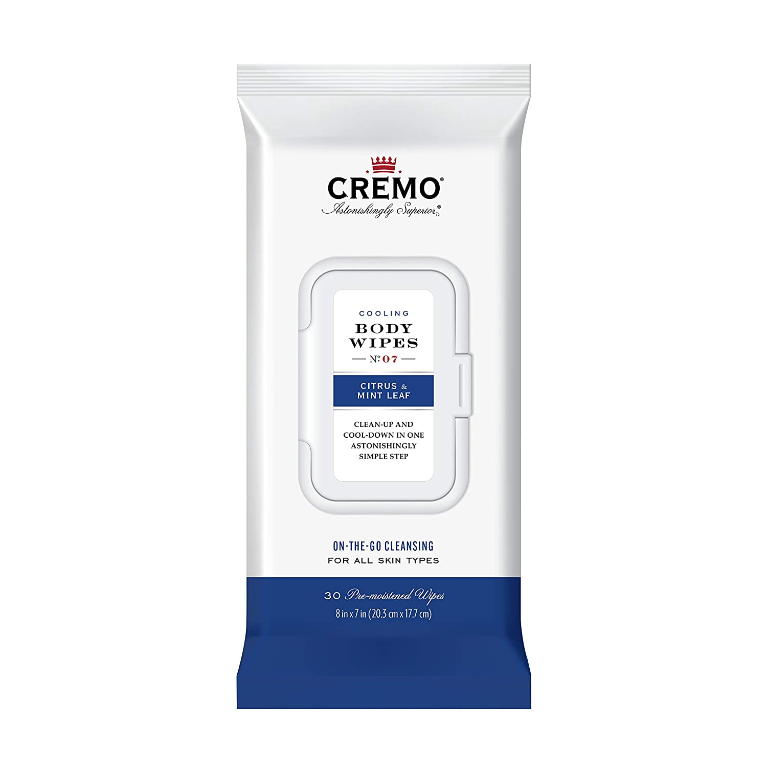 Cremo Cooling Citrus & Mint Leaf Men's Body Wipes, Clean-up and Cool-Down In One Astonishingly Simple Step, 30 Count, 2-Pack