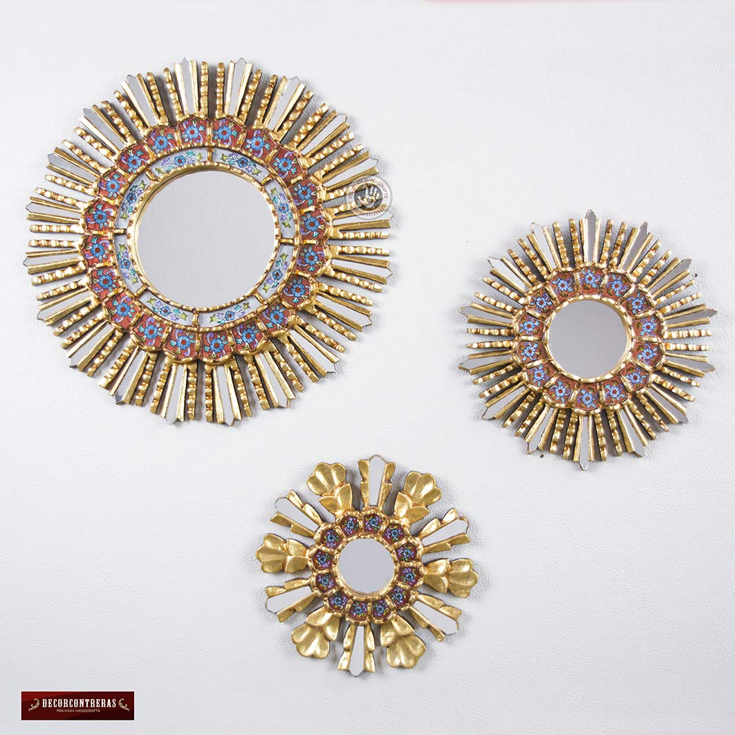 Peruvian Round Mirror Set 3, Sunburst Mirror set Wall Decor 17.7