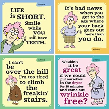 3.5 by 3.5-Inch Tree-Free Greetings 60758 Hilarious Aunty Acid Premium Square ECOMagnet Bad News