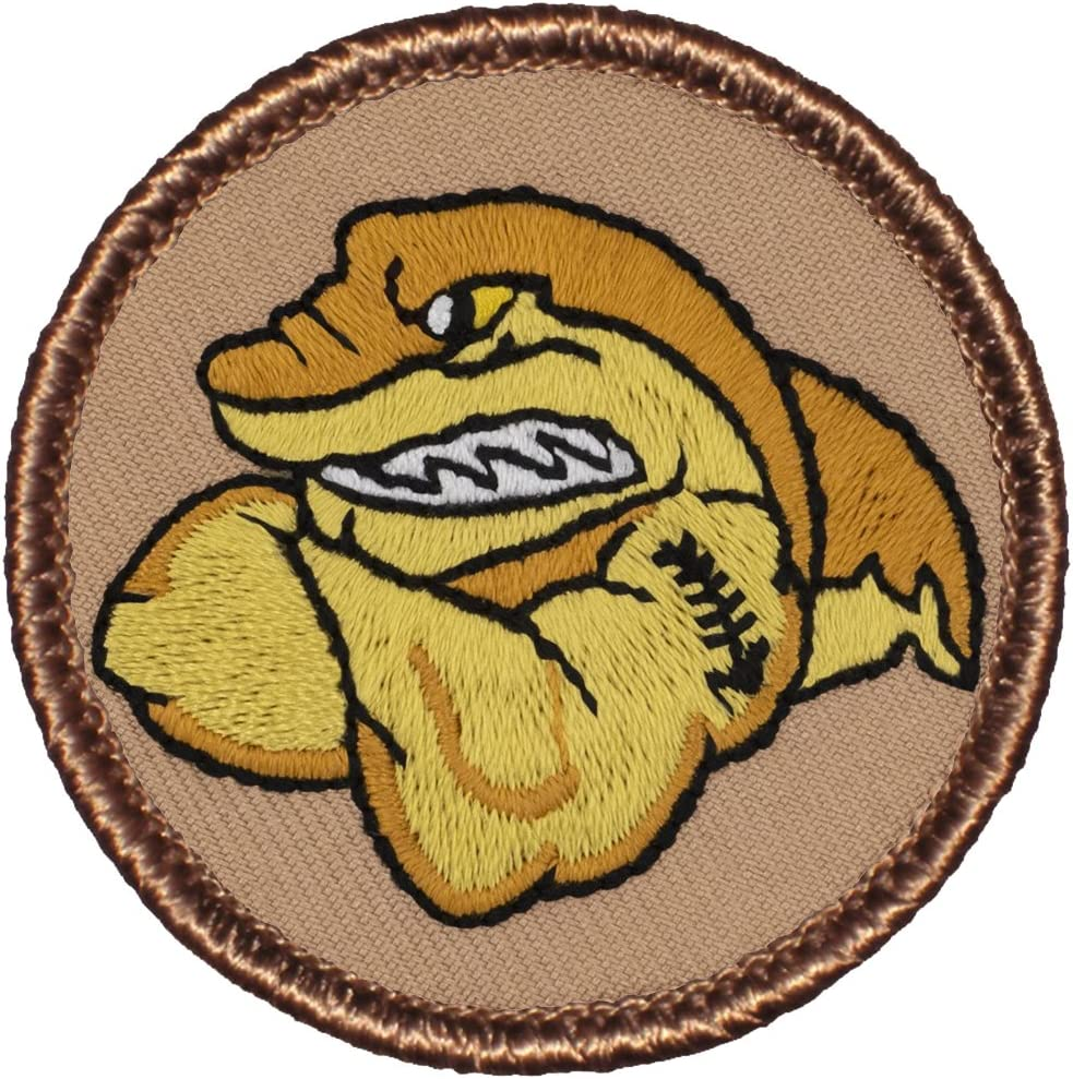"""Gold Muscle Shark Patrol Patch - 2"""" Diameter Round Embroidered Patch (Hook Fastener)"""