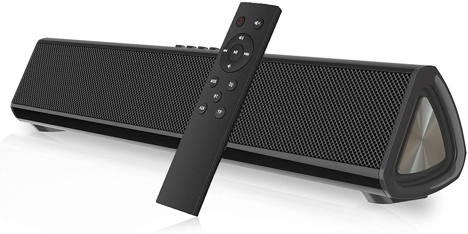 Sound Bar for TV, Bluetooth 5.0 Wireless & Wired 15.7 Inch Soundbar Surround Sound Home Theater Built-in Subwoofers for PC/Phones/Tablets, 2X10W Bluetooth Speaker with Remote Control Coax/AUX/Type C