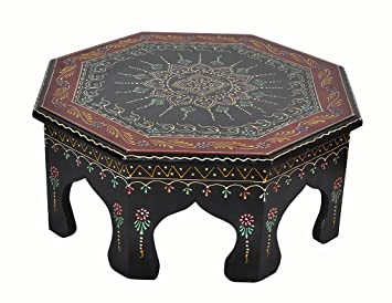 Wooden Hand Painted Side Table Small Round 14 X 14 X 6 Inch