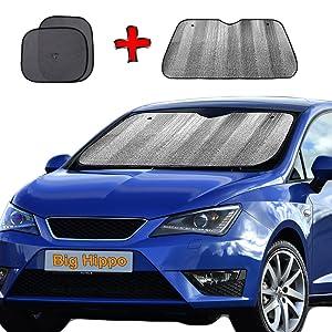"Big Hippo Windshield Sun Shade, Car Window Shade as Bonus Keep Vehicle Cool Protect Your Car from Sun Heat & Glare Best UV Ray Visor Protector (Size: 55.16""X 27.5"")"